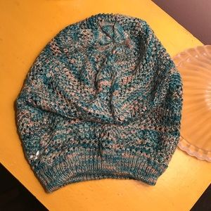 Teal and grey beanie